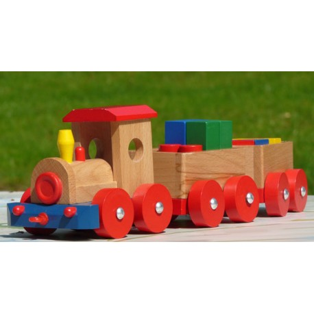 Colorful wooden toy made of solid wood and non-toxic paints.